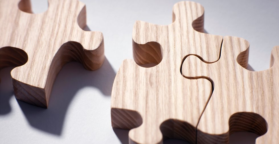 Wood puzzle pieces