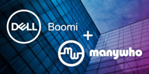 """""""Boomi + ManyWho"""" superimposed on office buildings"""