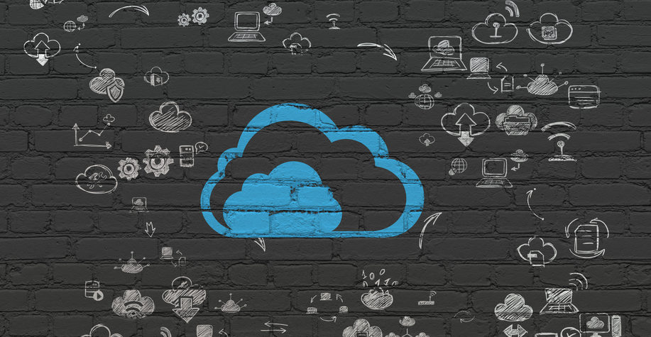 Cloud networking concept: Painted blue Cloud icon on Black Brick wall background with Scheme Of Hand Drawn Cloud Technology Icons