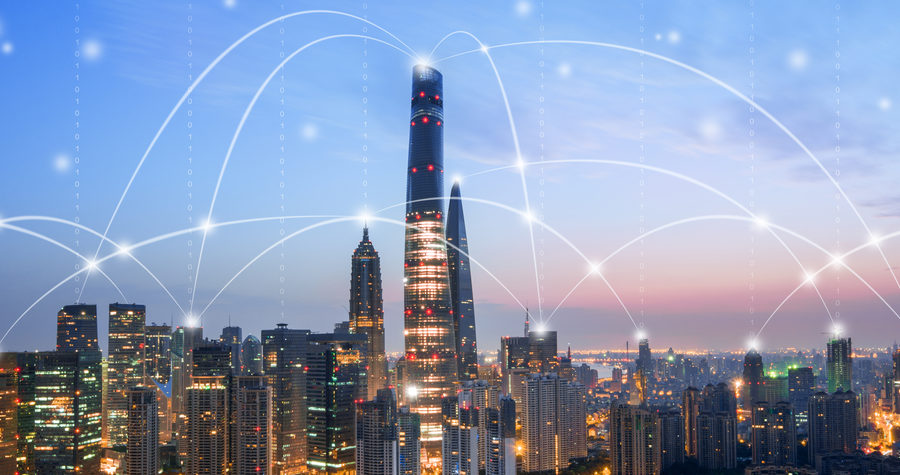 Shanghai Skyline - network connection