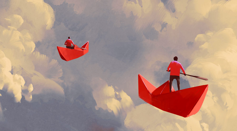 men on origami red paper boats floating in the cloudy sky, illustration painting