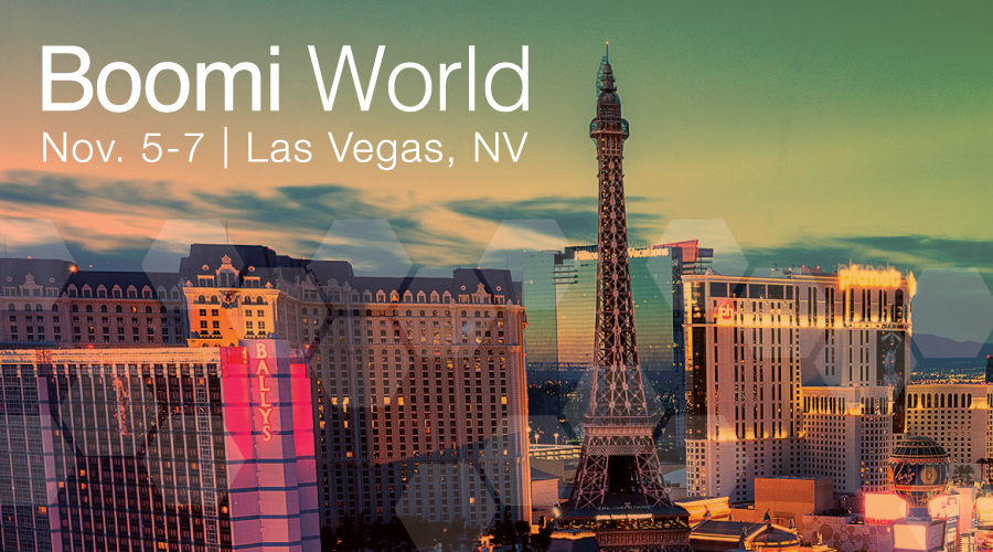 Boomi World banner, Las Vegas background