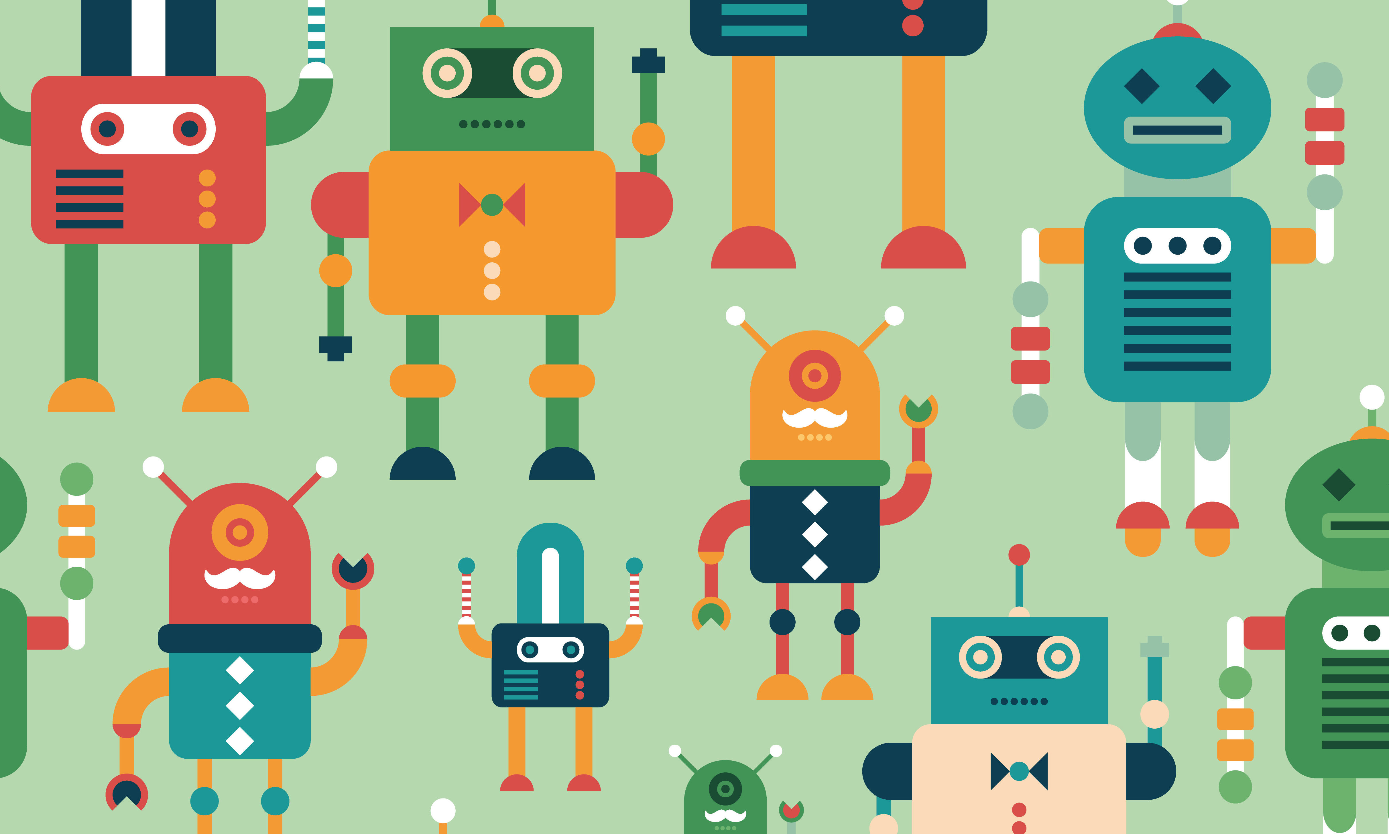 Illustration of various colorful, cute robots.