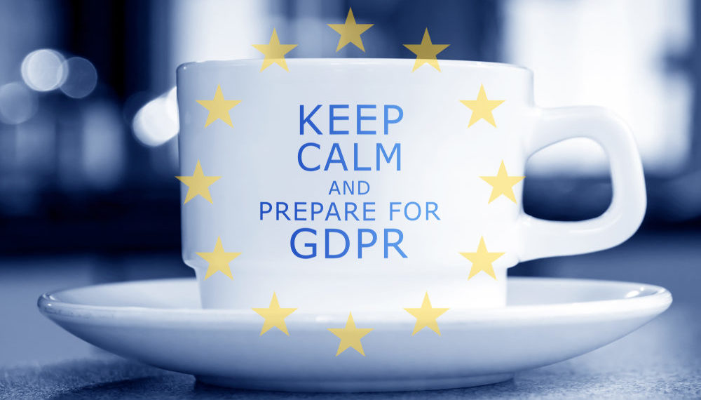 "Coffee cup that reads: ""Keep Calm and prepare for GDPR"""