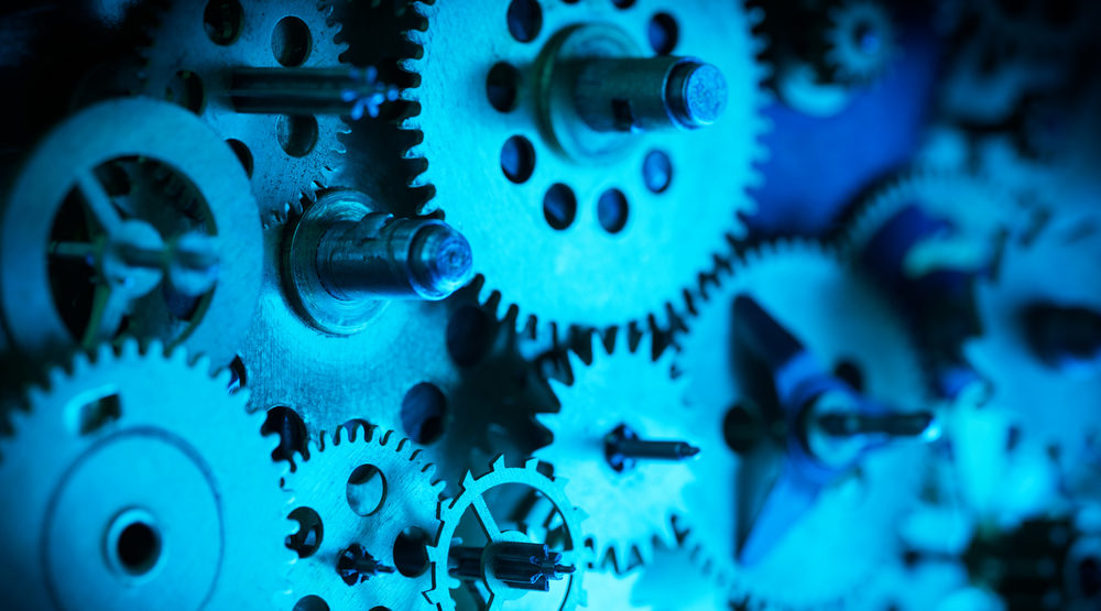 Cogs and gears, blue toned
