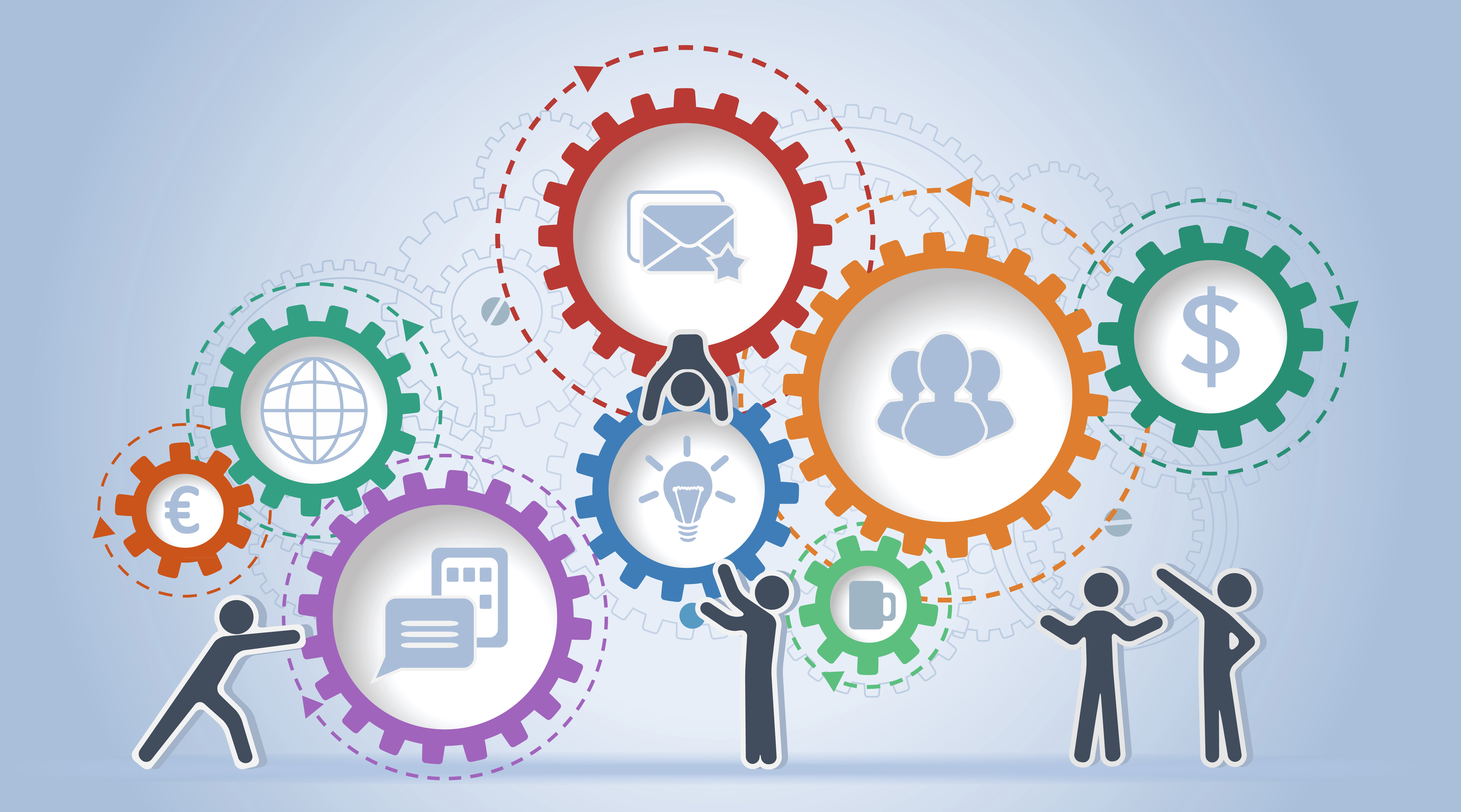Illustration of people assembling system of cogs that represent business development and collaboration.