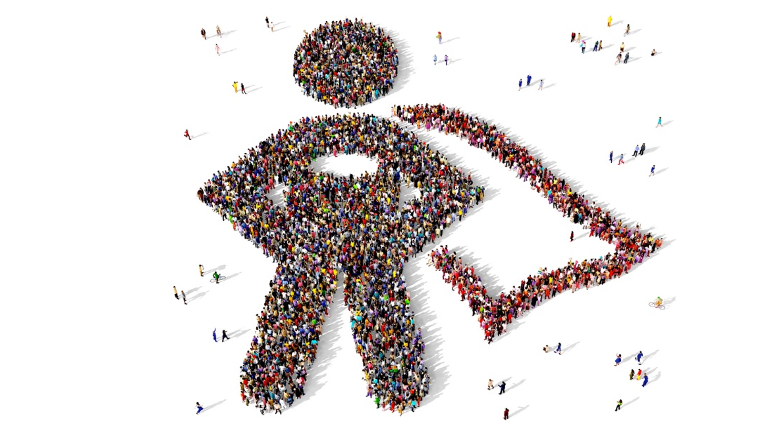 Crowd of people in the shape of a superhero.