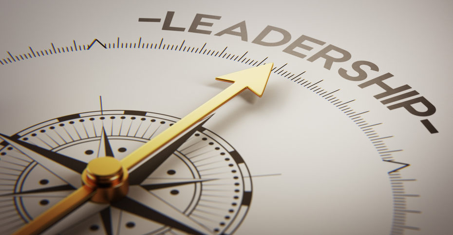 "Compass with needle pointed to ""Leadership"""