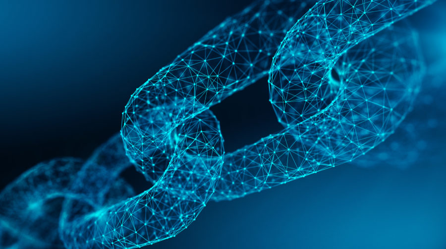 Image of translucent chain, each link composed of networking nodes.