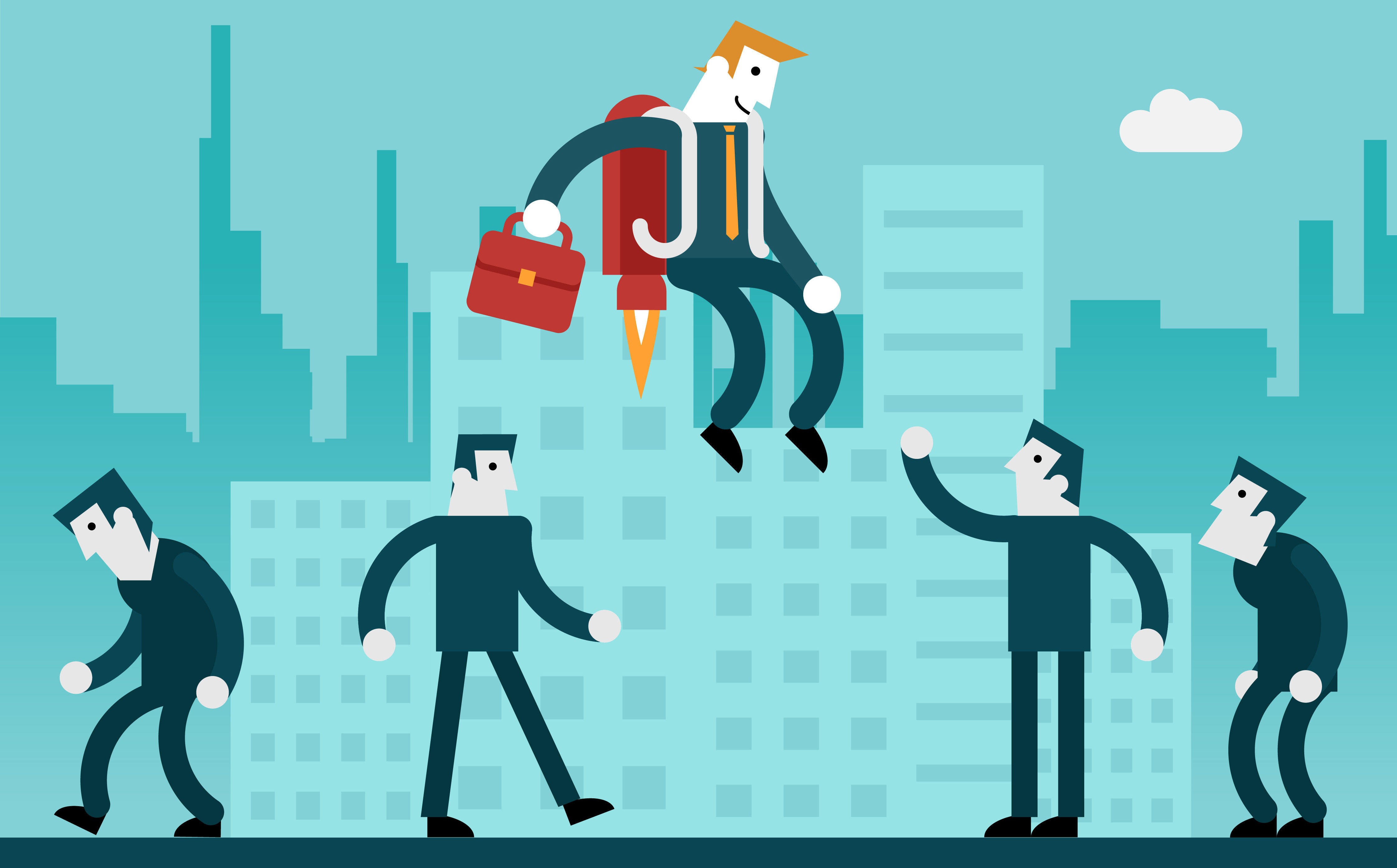 Illustration of businessman with jetpack rising about his peers.