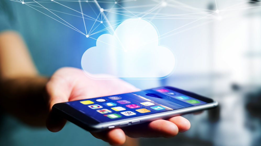 Image of a mobile device, connected to cloud network displayed on a futuristic interface.