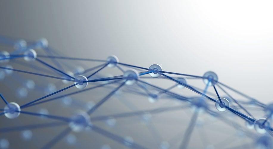 Model of a molecular network, arching, blue.