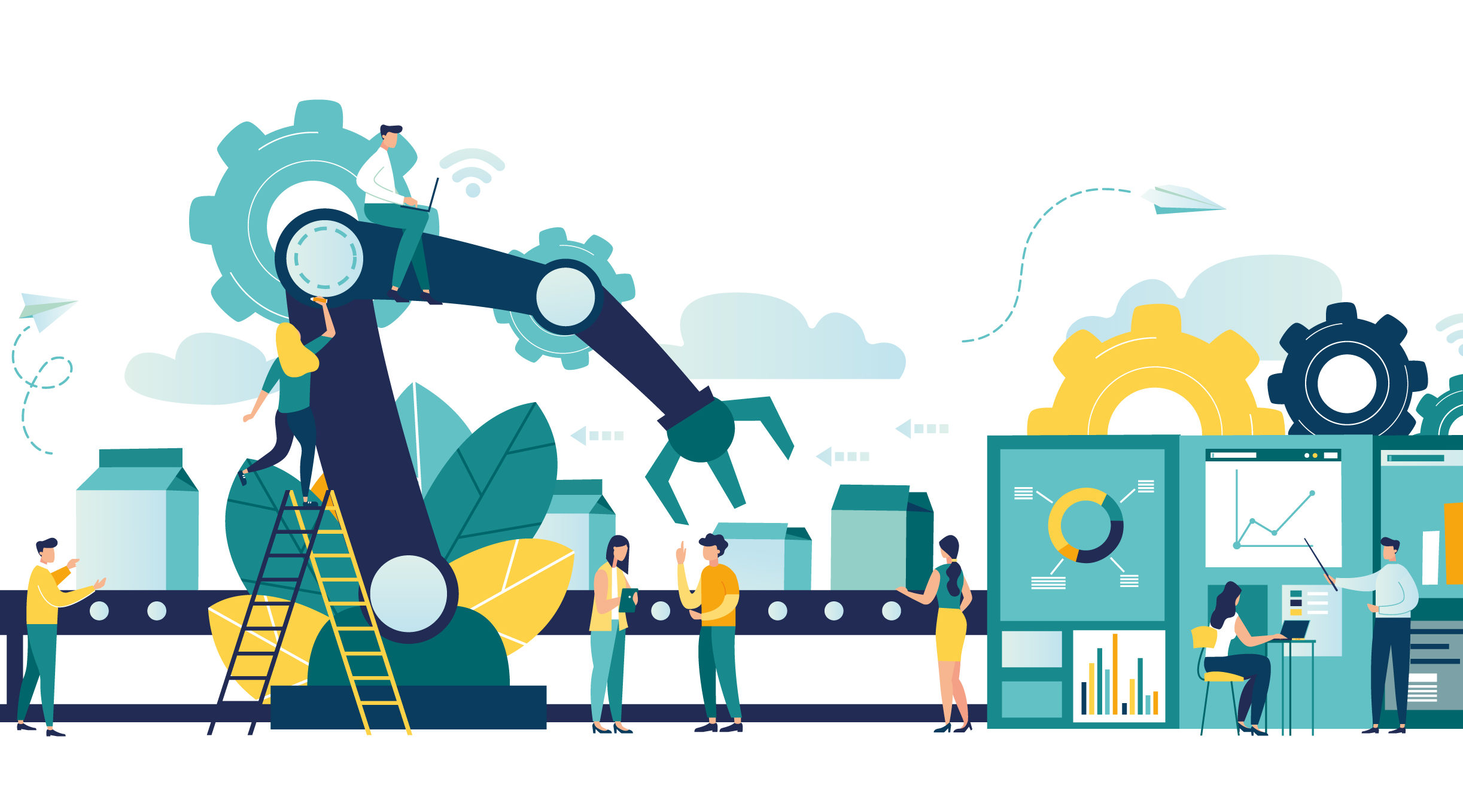 Vector illustration, a production line with workers, automation and user interface concept: user connecting with a tablet and sharing data with a cyber-physical system, Smart industry 4.0