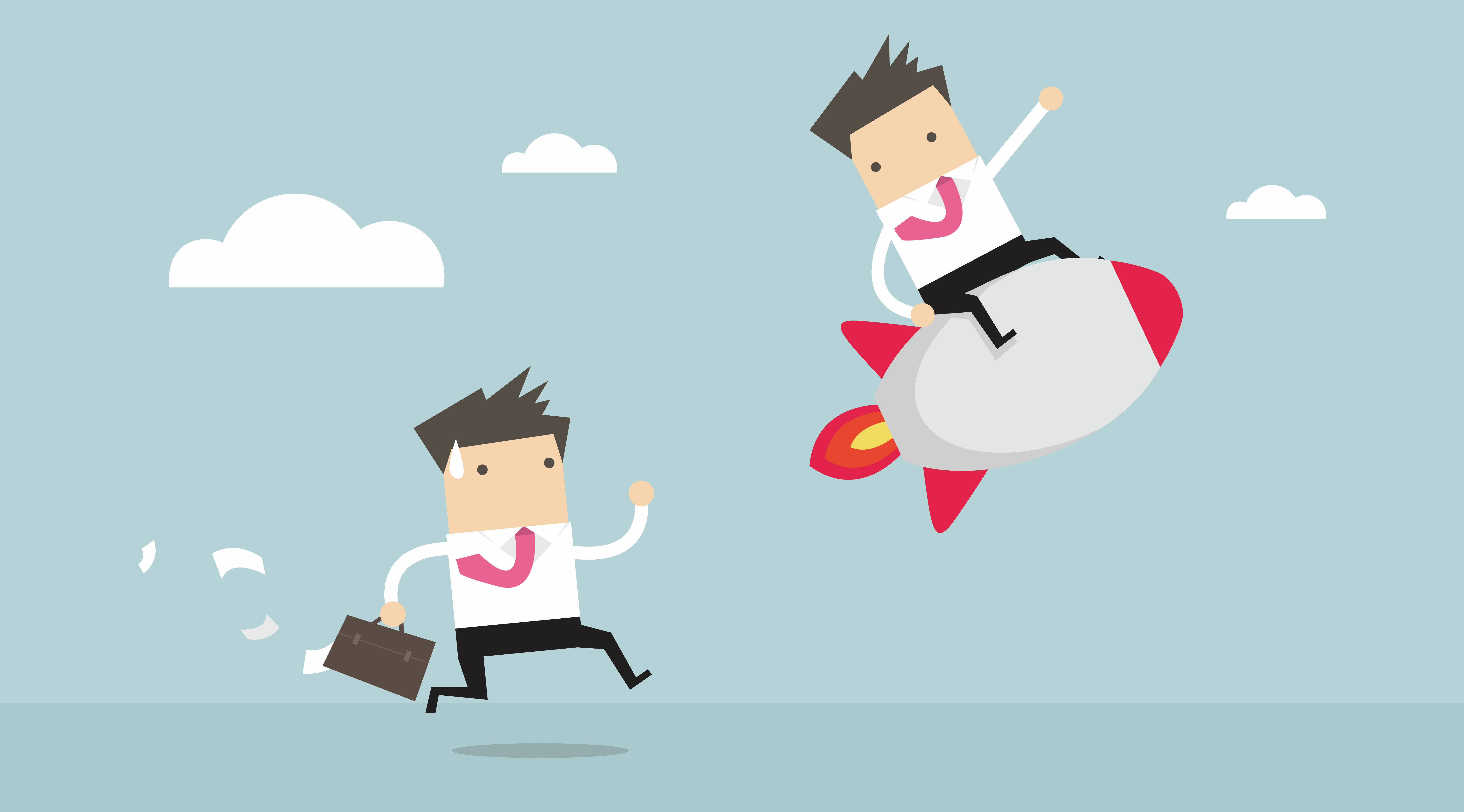Illustration about competitive advantage. It shows businessman on a rocket, leaving behind another businessman running with a briefcase, papers flying out, trying to catch up.