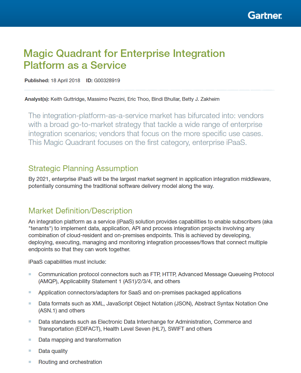 Gartner Magic Quadrant iPaaS