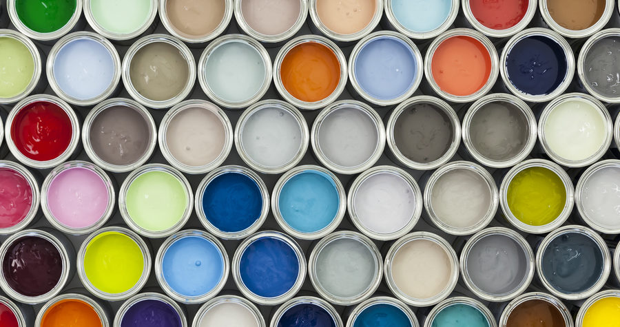 Colorful sample of open paint cans