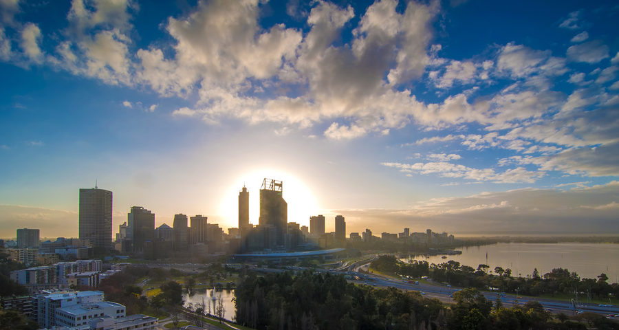 Photo of sunrise, skyline of Perth, Australia
