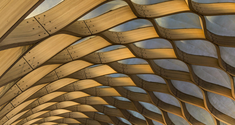 Curved wooden roof framing with translucent ceiling